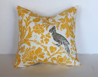 CLEARANCE - 20 x 20 Yellow and Taupe Swirly Bird Pillow Cover - Premier Prints