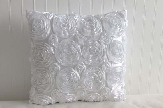ONE - 18 x 18 White Rosette Pillow Cover