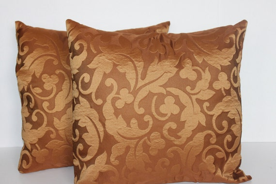 NEW YEAR SALE - Two 20 x 20 Pillow Covers Gold and Brown Swirl - Decorator Pillow Covers