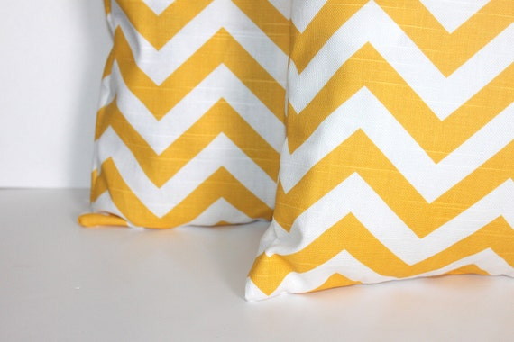 TWO 18 x 18 Pillow Covers Yellow Chevron Zigzag - Decorator Pillow Covers