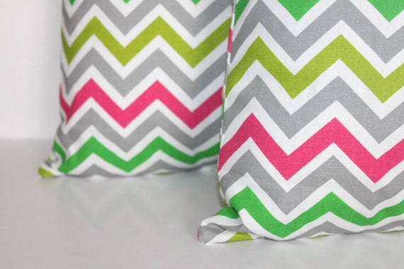 TWO 20 x 20 Pillow Covers Grey Multi Colored Chevron Zigzag  - Decorator Pillow Covers