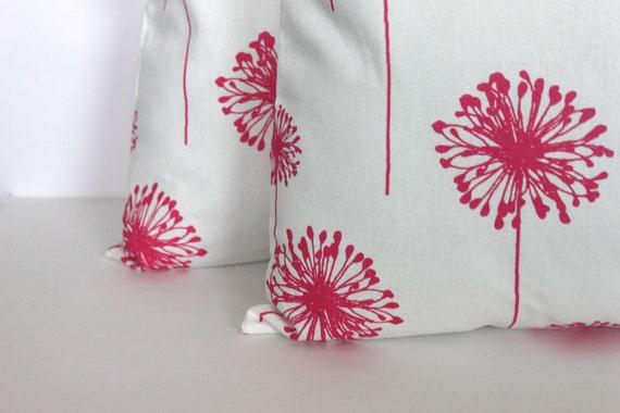 TWO 18 x 18 Pillow Covers Pink Dandelion Premier Prints - Decorator Pillow Covers