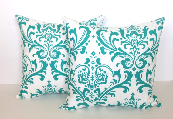TWO 20 x 20 Pillow Covers Turquoise Damask. Premier Prints  - Decorator Pillow Covers