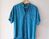 Vintage Mens Shirt Blue // Short Sleeves button up shirt // Medium // Fathers Day Gift