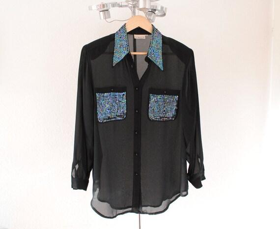 Vintage 80/90s Sheer Black Blouse Sequined/Embellished Collar and Front Shirt Pockets medium