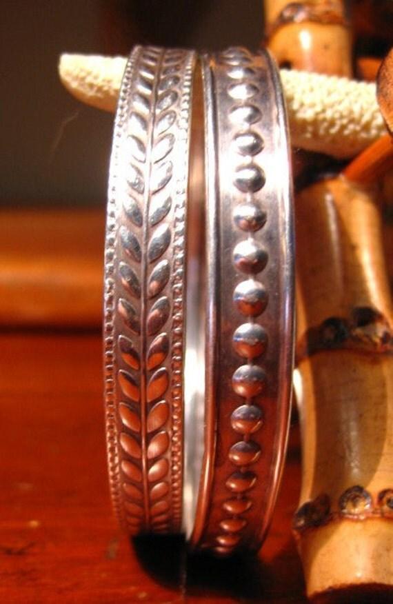 Vintage Sterling Bangle Bracelets Set of Two