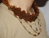 Organza Beadwork Brown Colour Handmade Necklace