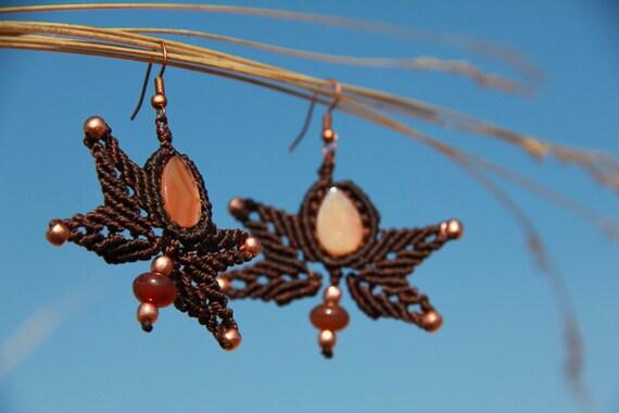 Agate macrame  butterfly earrings