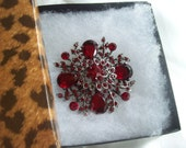 Gorgeous Vintage Brooch with Red Rhinestones