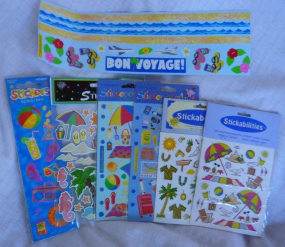 scrapbooking stickers beach vacation themed by thecraftscloset. Black Bedroom Furniture Sets. Home Design Ideas