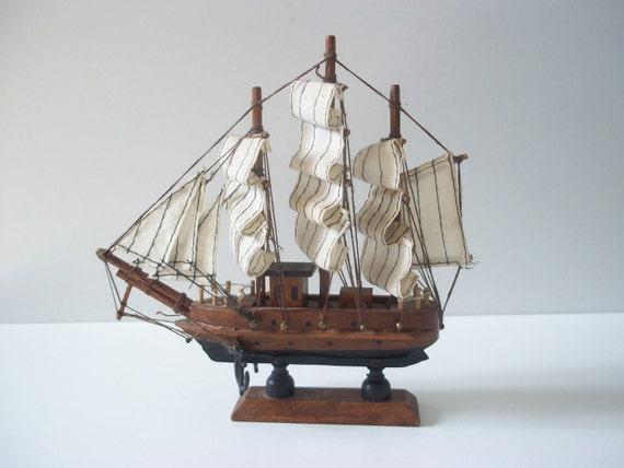 Vintage Ship Model - Wooden Ship Toy model - Handmade miniature - Collectible -