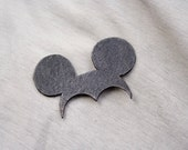 Sale 20% off. Miki Brooch. Natural recycled black leather, minimalistic, pure, funny. Free shipping!