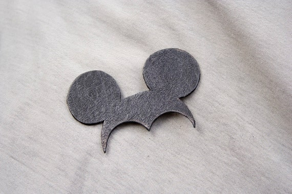 Miki Brooch. Natural recycled black leather, minimalistic, pure, funny. Free shipping!
