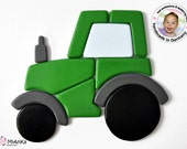 Wood Puzzle green Tractor