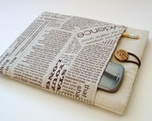 Newsprint iPad Case Sleeve in Linen with external pockets