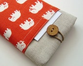 Cute Kindle Cover with pockets in Orange elephants linen