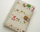 Cute Book Style Kindle Cover - Little Red Riding Hood on Natural Linen