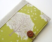 Book Style Kindle Cover - Green Oak Trees and Linen interior