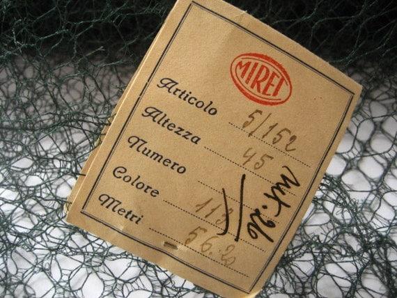 Vintage 1920s / 1940s Dark Wood Green  Millinery Italian Net Hat Veiling Fabric Trim