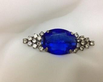 Vintage Blue and Clear Rhinestone Brooch