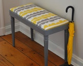 reserved for nanell0107 - Vintage Vanity Stool / Bench - Yellow & Grey Modern Pattern