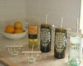Day of the Dead Wine Bottle Candle Dearly Beloved Sage & Citrus Scent Soy Container Glass Ecofriendly Reusable