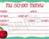 Printable Back 2 School My School Money Notes