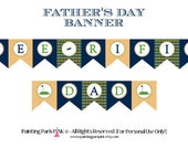 Father's Day 'Tee-riffic Dad' Printable Banner | Instant Download | Preppy Argyle | Stripes | Golf