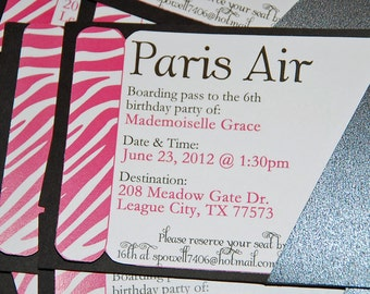 Boarding Pass Printable Invitation - Summer In Paris Party Collection