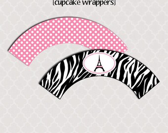 Printable Cupcake Wrappers - Summer In Paris Party Collection