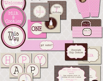 Milk & Cookies Party for Girls - Printable Full Party Collection