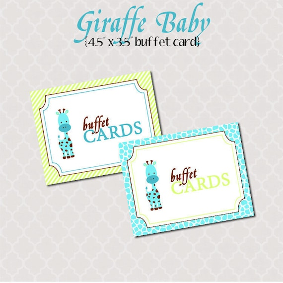 Printable Buffet Cards - Giraffe Baby Shower Collection