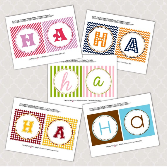 items similar to happy birthday banner create your own - printable  winter 2013 colors