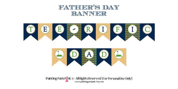 Father's Day 'Tee-riffic Dad' Printable Banner | Instant ...