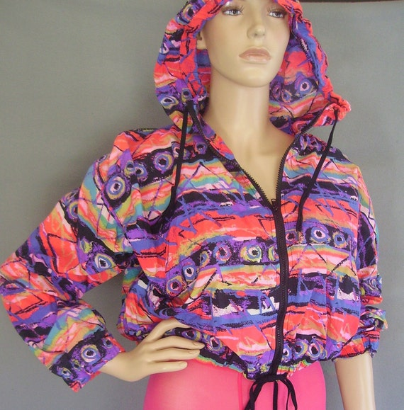80s Jacket / 80s Neon Jacket / 80s Hoodie / Oversized Cropped Jacket / Slouchy 80s Cropped Jacket / 80s Windbreaker /  Vintage Windbreaker