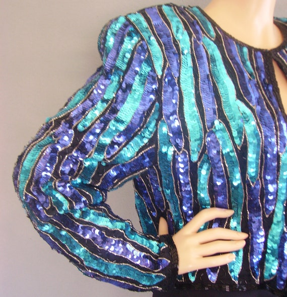 80s Sequin Jacket / 80s Jacket / Vintage Jacket / Vintage Sequin Jacket / Vintage Beaded Jacket / 80s Cropped Jacket / 80s Beaded Jacket /
