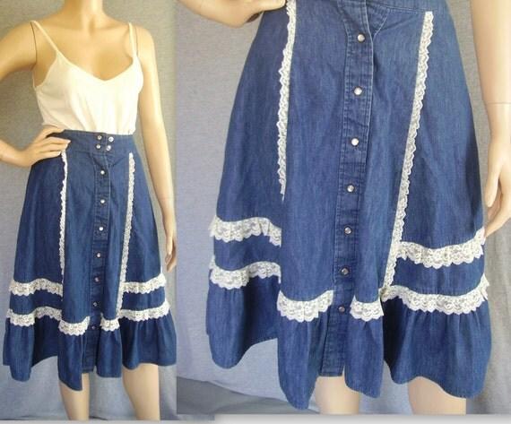 60s Skirt / 70s Skirt XS/ Hippie Skirt / Boho Skirt / Western Skirt / Denim Skirt / Lace Skirt / Cowgirl Skirt