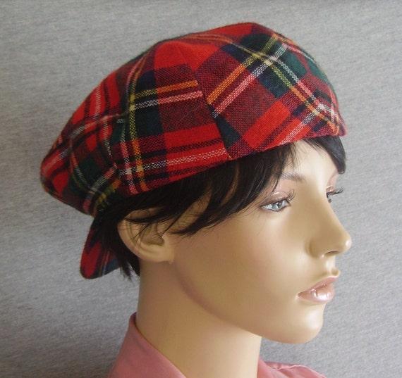 Vintage Newsboy cap / Vintage Hat / Vintage Cap / Newsboy Hat with Snap / Plaid Hat / Plaid Cap / Tartan Cap /  Tartan Hat / Tartan Cap