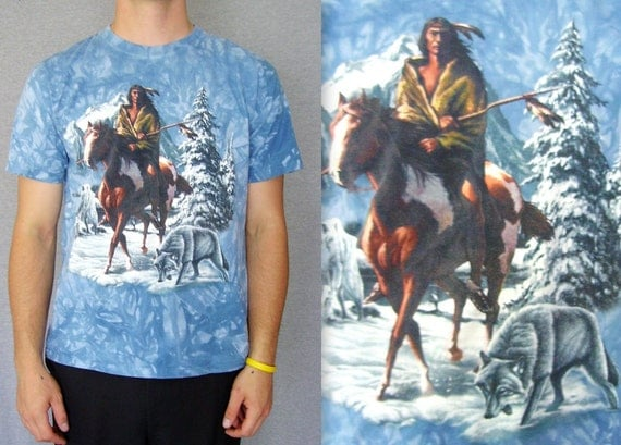 Vintage T Shirt Tie Dye / Vintage Native American T Shirt / 80s Tee / 80s Shirt / Vintage Indian Shirt / Native American on Horse