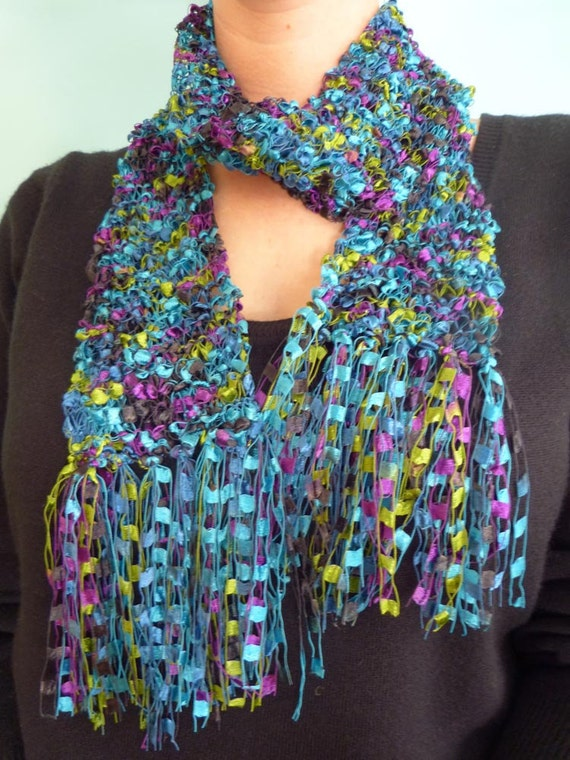 Turquoise, Purple and Green Trellis Ladder yarn hand knitted scarf