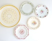 RESERVED FOR GRACE Instant Collection of 5 Vintage Plates in Yellows and Pinks