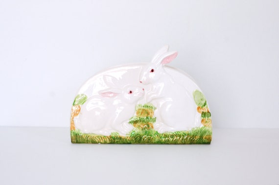 RESERVED for sami Vintage Bunny Napkin or Paper Holder - Easter Decor