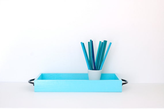 Pretty Blue Wood Tray with Black Handles