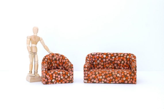 Vintage Dollhouse Living Room Set Couch and Chair