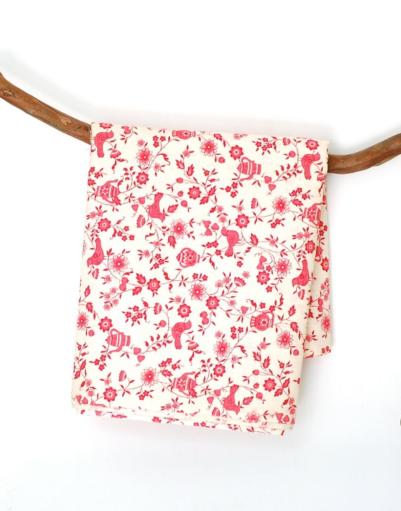 Vintage Red and White Floral Fabric