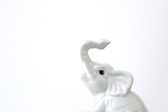Vintage Pearly White Elephant Figurine