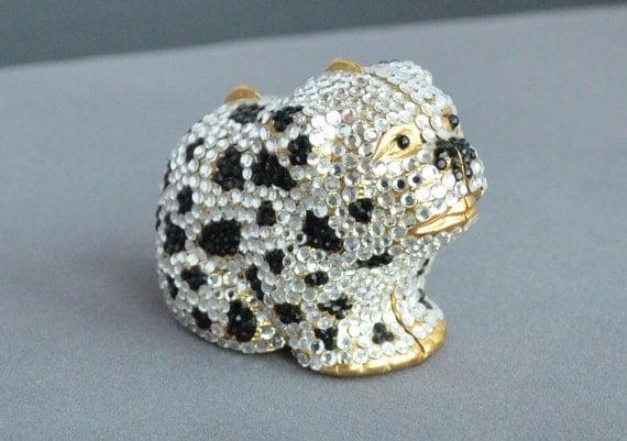 "Vintage JUDITH LEIBER  Swarovski Crystal ""Dog"" Pill Box RARE"