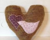 Love Heart - Small, tobacco, appliquéd mohair, love heart cushion