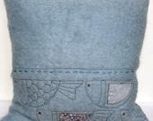 Fish Cushion in appliquéd, blue mohair