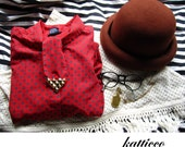 upcycled ascot blouse with gold studded tie S M